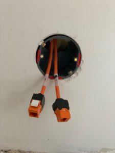 cat6 kabel utp in muur getrokken