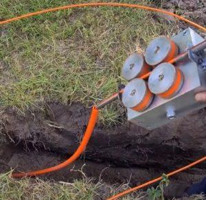 Netwerk bekabeling door de grond schieten